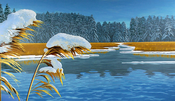 """David Ahlsted - Right Panel """"Winter"""" Oil on Canvas, 6' 6"""" x 11'"""