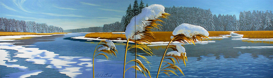 """David Ahlsted - """"Winter"""", Oil on Canvas, 6' 6"""" x 22' Installation"""