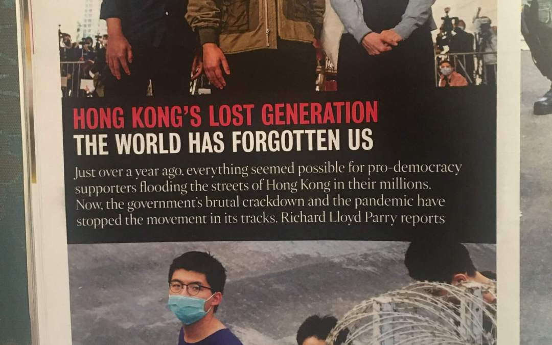Times Magazine – moving profile of Hong Kong's pro democracy campaigners by Richard Lloyd Parry – challenging us not to forget their bravery