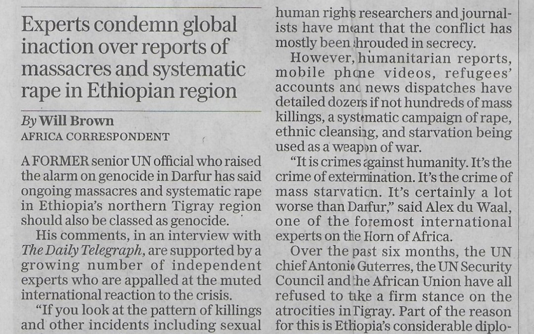 "Guardian reports on shocking atrocities in Tigray including the rape of young girls. Webinar on Monday will focus on how war has been waged on women and girls. Telegraph reports on ""Tigray Genocide"""