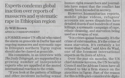 """Guardian reports on shocking atrocities in Tigray including the rape of young girls. Webinar on Monday will focus on how war has been waged on women and girls. Telegraph reports on """"Tigray Genocide"""""""
