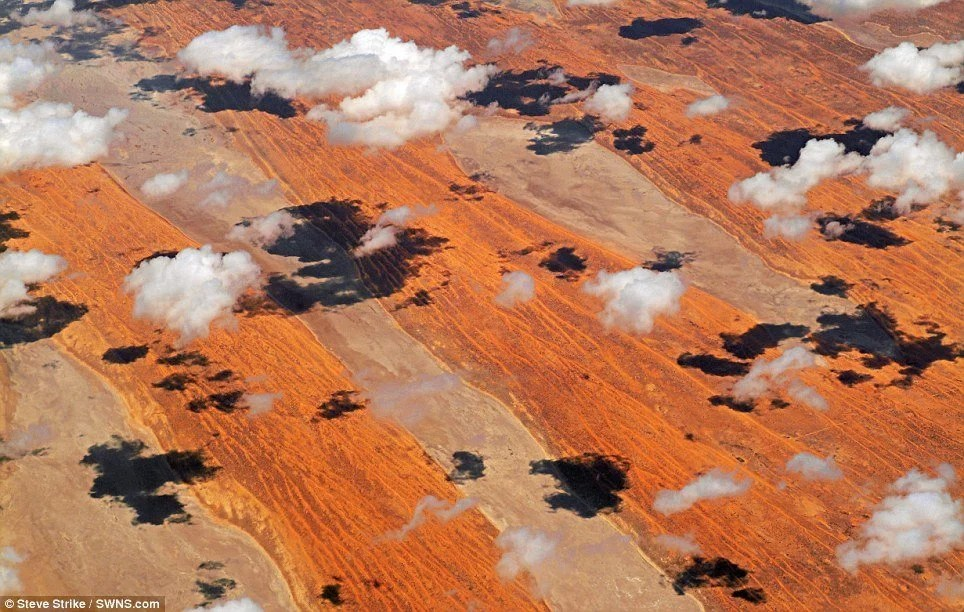 The  shadows of cumulus clouds dapple the parallel dunes of the Simpson Desert   by Steve Strike.