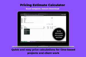 Image of Excel spreadsheet which functions as a Project Pricing Estimate calculator