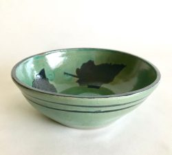 Ceramic 30 Teal Glaze and Black Leaf Decoration