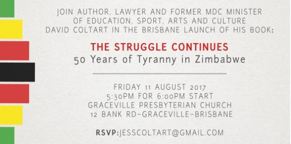 Details of Senator David Coltart's book launch in Brisbane on the 11th August 2017
