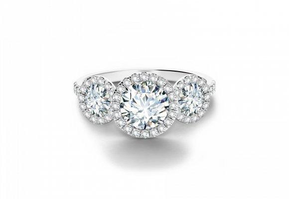 Round Halo Three Stone Engagement Ring