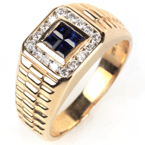 Men's Yellow Gold Sapphire and Diamond Band