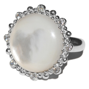 Anzie Dew Drop Etoile Round Ring Mother-of-Pearl and Silver