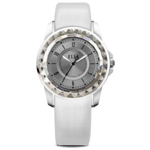 ELLE White Leather Watch with Sunray Dial - $155