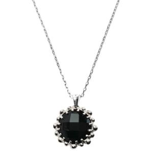 Anzie Dew Drop Mini Round Necklace- Black Onyx & Silver