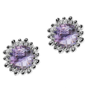 Anzie Dew Drop Snowflake Earrings - Amethyst and Silver