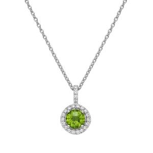 Lafonn Peridot Pendant Necklace with Clear Simulated Diamonds