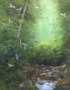 Woodland Doves-A Canvas of Nature in Oils