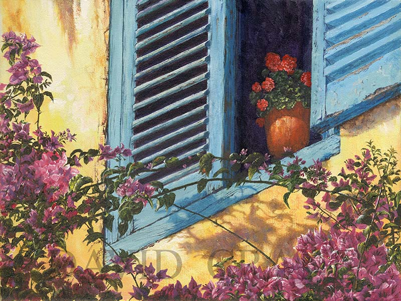 Blue Shutters-Distinctive Floral Art