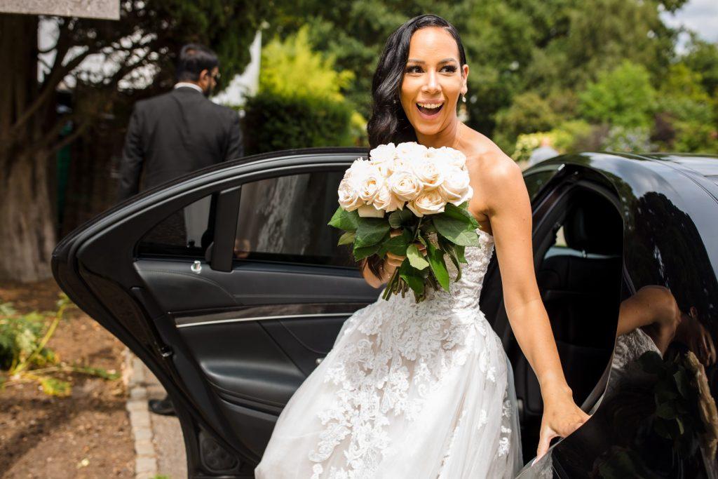 Bride arriving at Pembroke Lodge, Richmond Park, London