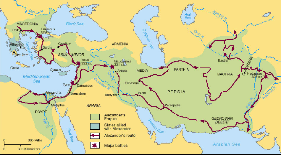 Map of Alexander's journey through the Persian Empire to India and back