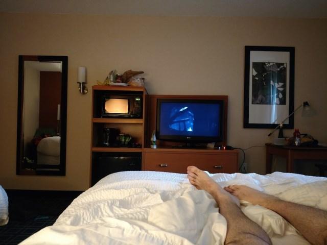At hotel watching movies