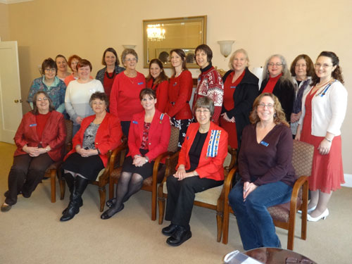 Go Red for Women 2 Chapter members wear red in honor of American Heart Association's Go Red for Women, 2015.