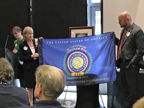 Honoring Vietnam Veterans at the 2015 Redmond Rotary Veterans Luncheon. From left: Regent Jacqueline Riddell, Vice Regent Deborah Pierce, and Redmond Rotary Member William Miller.