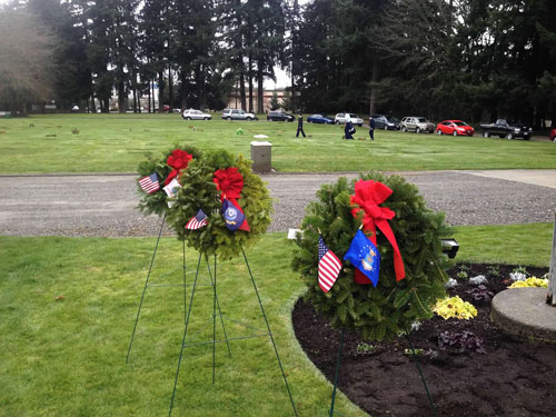 Ceremonial wreaths presented in honor of our veterans at the annual Wreaths Across America at Cedar Lawns Cemetery, sponsored by David Douglas Chapter.
