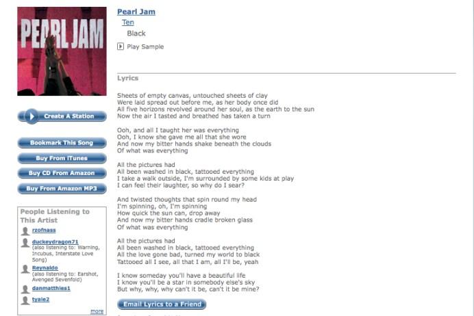 Pearl Jam Black Lyrics