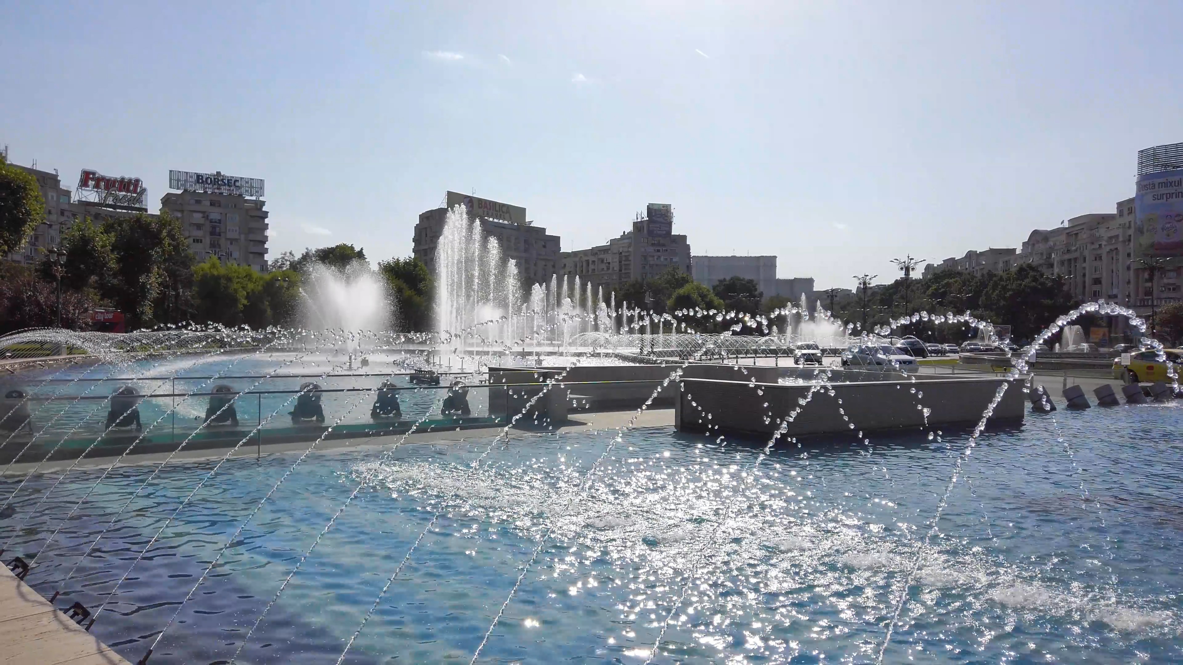Water fountains in Unirii Square, Bucharest