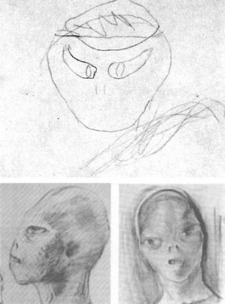 The alien abductor: top sketch drawn by Barney Hill under hypnosis; bottom sketches by David Baker after interviewing Barney.