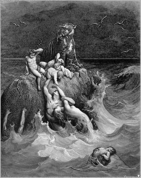 "The Flood, as envisioned by Gustave Dore (1865).  For Eibeschuetz, the real Flood happened before the world existed.  It was the primordial catastrophe of the ""Shattering of the Vessels."""