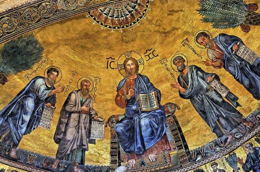 Paul to the left of Christ enthroned - apse mosaic from Rome, Basilica of Saint Paul Outside the Walls, Rome (1220).