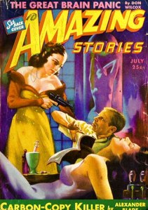 """""""Amazing Stories,"""" July 1943: the """"evil scientist"""" is Palmer, the woman with the gun his beautiful secretary Elaine (Nadis, pp. 44-45)."""