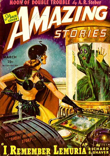 "The ""Amazing Stories"" cover (March 1945) that kicked off the Shaver Mystery. I'm haunted by the yearning in the eyes, in the posture of the dero trapped inside his glass cage, as he gazes at the beauty beyond his reach. Palmer sometimes had himself painted into the ""Amazing Stories"" covers (below); is this one of those times?"