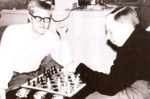 Shaver and Palmer at chess, circa 1957.