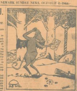 The Jersey Devil ponders the Glassboro holes. Photocopy (pre-Xerox) of the clipping provided by Jay Blick.