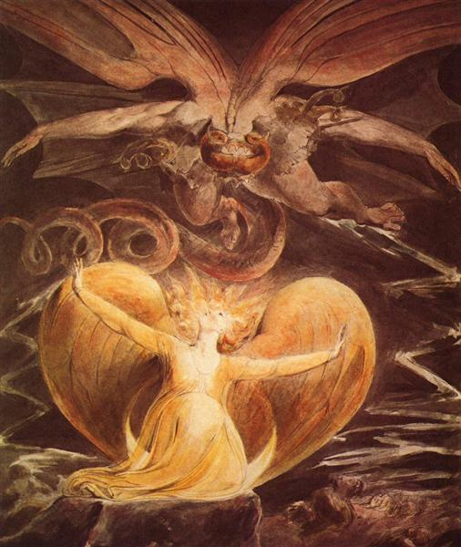 The Messiah's mother confronts the dragon; William Blake, 1810. (Wikimedia Commons.) But what if she's herself the dragon?