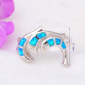 3.64g Lovely dolphins design real 925 sterling silver Created blue fire opal rings party wonderful jewelry for lady SR3 Image 2