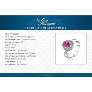 JewelryPalace Classic 1.8ct Oval Created Pink Sapphire Halo Promise Ring 925 Sterling Silver Jewelry New Fashion Rings For Women Image 5