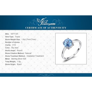 JewelryPalace Round 1.6ct Natural Sky Blue Topaz Birthstone Solitaire Ring Genuine 925 Sterling Silver Jewelry For Women Image 6