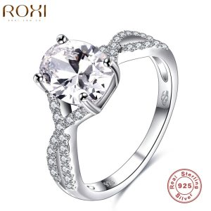 ROXI Brand 925 Sterling-silver-jewelry Ring Wholesale Silver Charm For Women Wedding Rings Square Zircon Luxury Gift Image 1