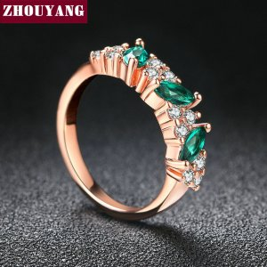 Top Quality ZYR361 Green Crystal Ring Rose Gold Color Austrian Crystals Full Sizes Wholesale Image 4