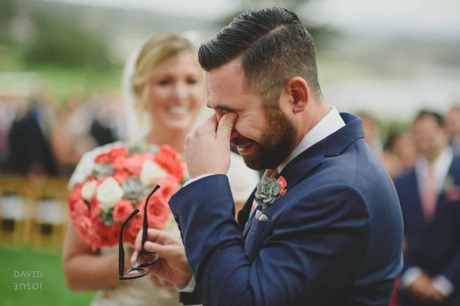 Groom getting emotional at his wedding ceremony