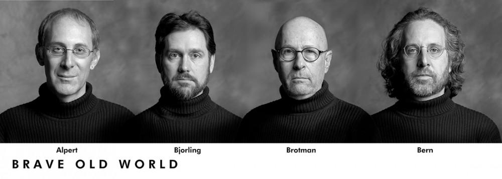 A composite image of Brave Old World: Michael Alpert, Kurt Bjorling, Stuart Brotman and Alan Bern, Montreal, 2006