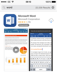 Word app on the Apple App Store