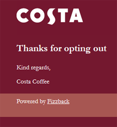 Costa Unsubscribe Acknowledgement