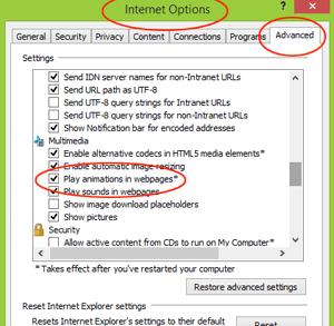 Internet Explorer 11 - stopping animated gifs