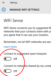 WiFi Sense - signed on to an Online Account