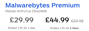 Malwarebytes Premium price