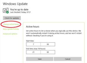 Windows 10- Change Update Hours