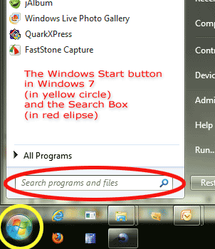 Windows 7 Start Button and Search box