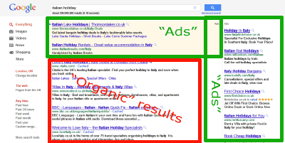 Google Search Results highlighting ads at top
