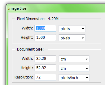 Photoshop Dialog Box for Image Size